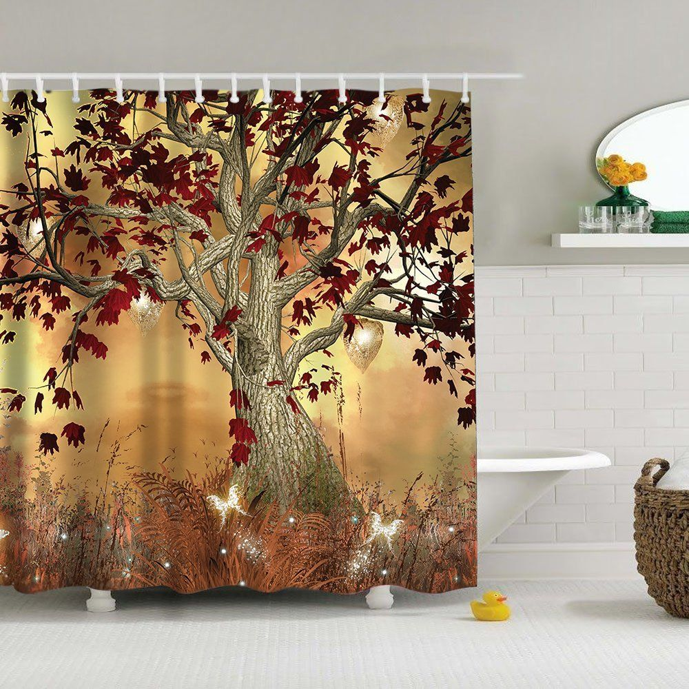 Uphome Vintage Old Twisted Tree Print Bathroom Shower Curtain