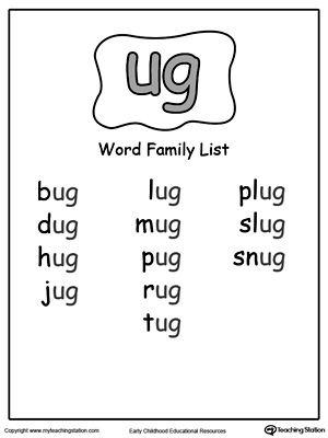 UG Word Family Workbook for Kindergarten
