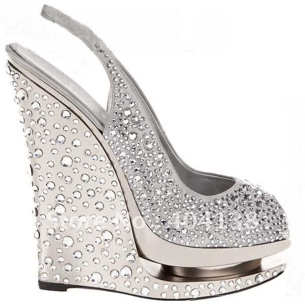 summer brand sexy high heels shoes wedding rhinestone pumps platforms womens wedges crystal fish mouth sandals