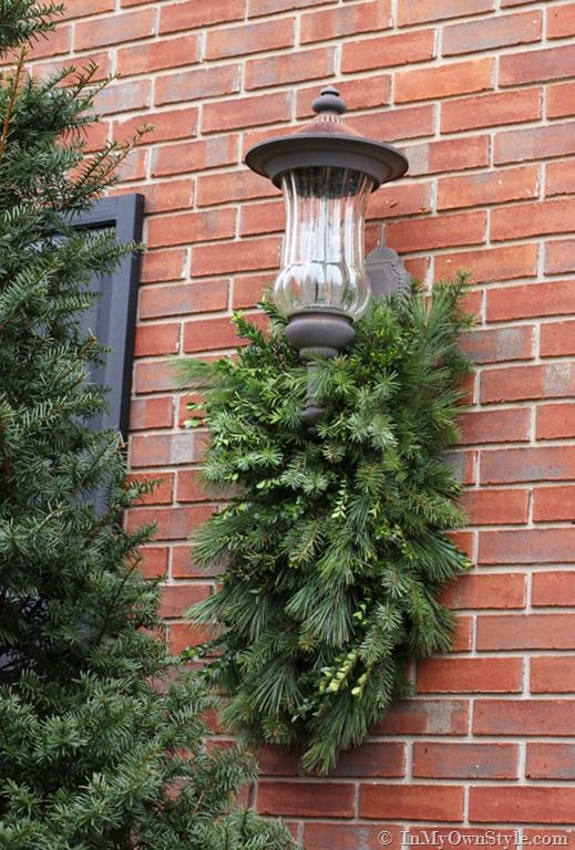 How to make and decorate with holiday greenery to hang - Exterior christmas light hangers ...