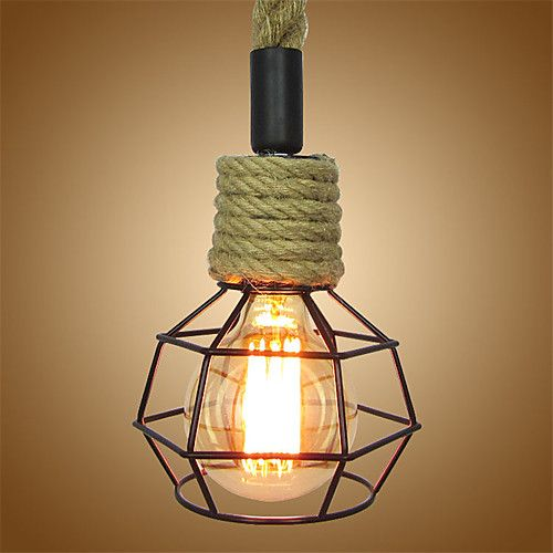 loft industrial iron cage. Vintage Hemp Rope Loft Pendant Lights Industrial Iron Cage Dining Room Cafe | Irons, Lighting And Cheap E