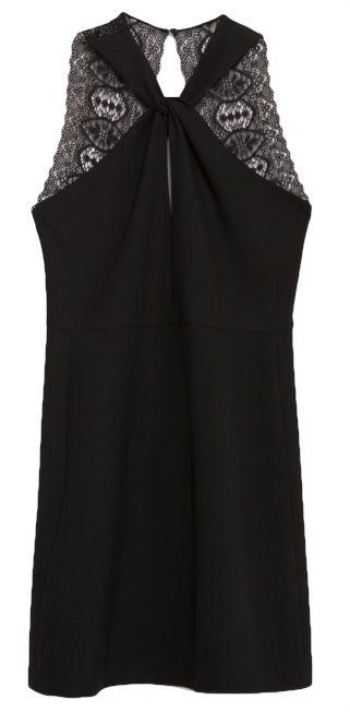 robe noir col nou et dos nu en dentelle soldes zara. Black Bedroom Furniture Sets. Home Design Ideas
