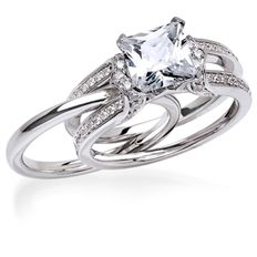 How Awesome Is This Wedding Set By MJ Wilman The Classic Band Slides Into Center Of Diamond Dotted Double Shank Engagement Ring