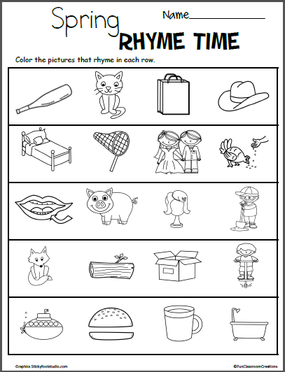 Spring Color The Rhymes Worksheets Madebyteachers Rhyming Worksheet Rhyming Activities Rhyming Kindergarten