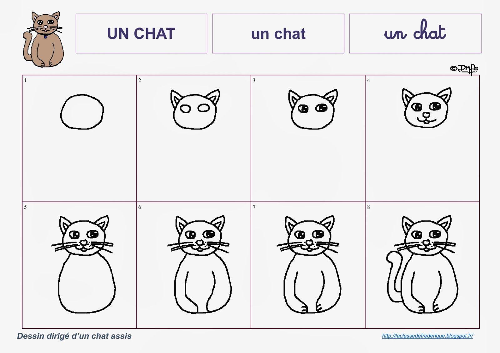 Dessins dirigés   Apprendre à dessiner un chat, Dessin, Chat maternelle