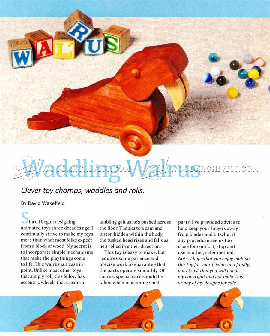 2330 waddling walrus pull toy plans - wooden toy plans | diy
