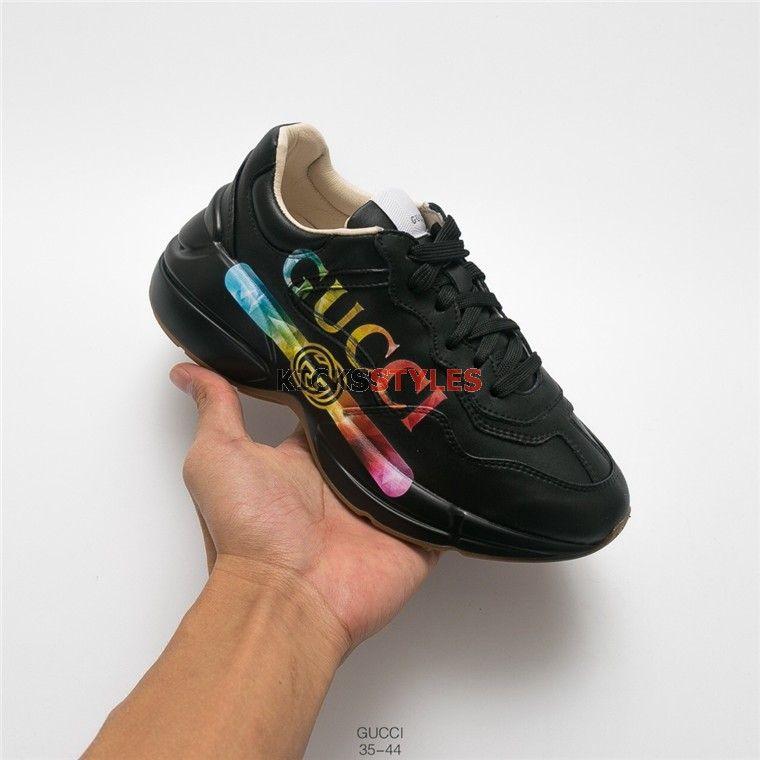 e8679159b64 Gucci Rhyton Rainbow Logo-Print Sneaker Black Rainbow Logo