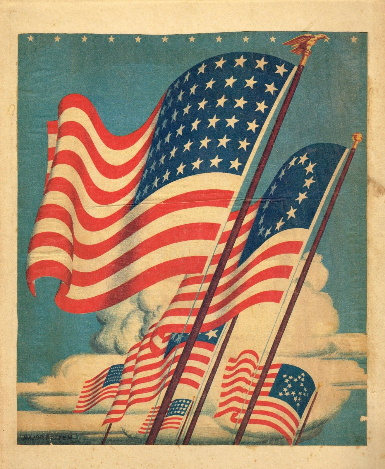 Antique Flag Image Printable For July 4th Decor