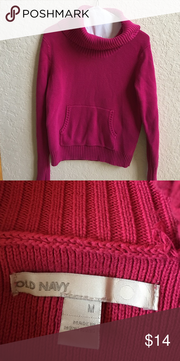 Hot pink turtle/cowl neck sweater | Hot pink, Weights and Navy ...