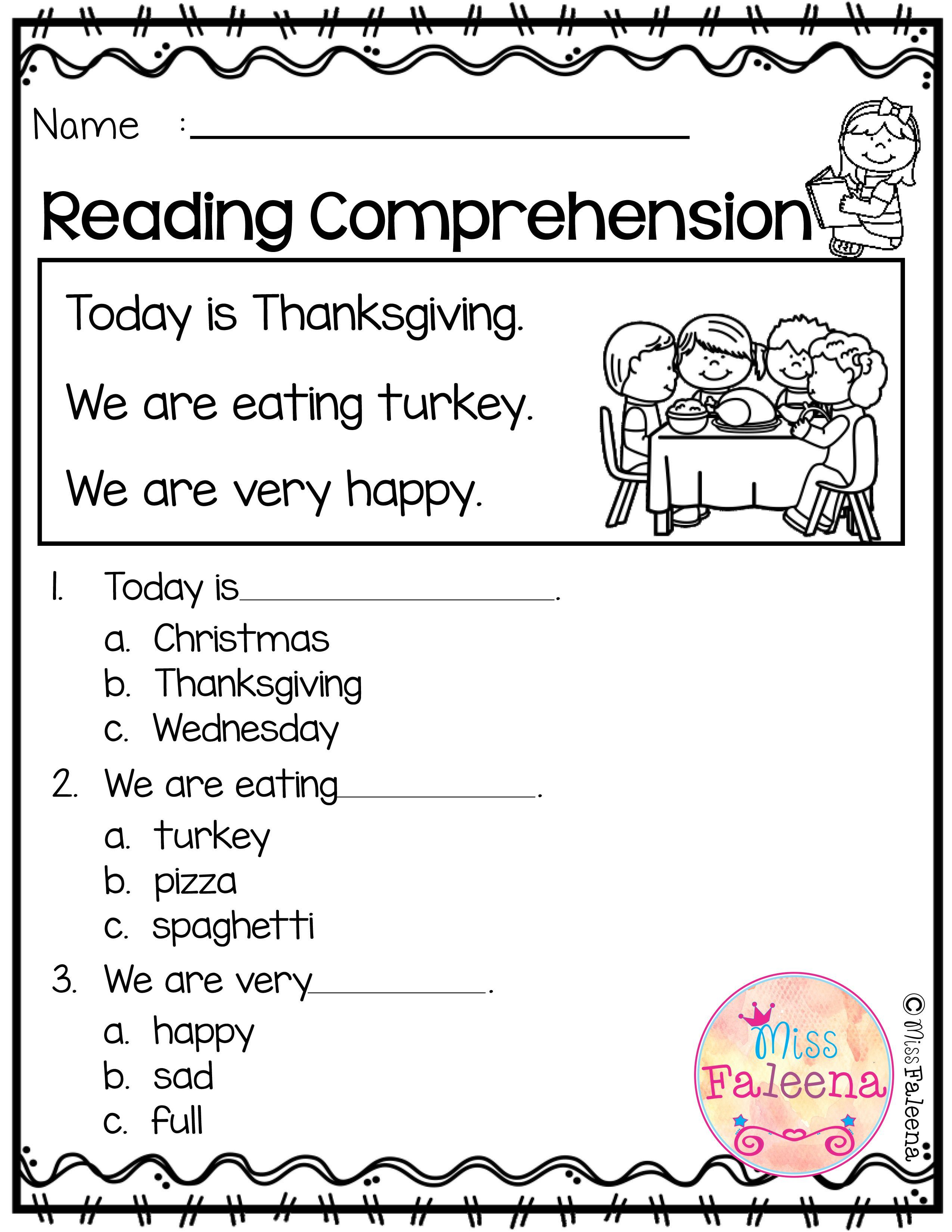 4th Grade Reading Comprehension Worksheets Thanksgiving   Printable  Worksheets and Activities for Teachers [ 3300 x 2550 Pixel ]