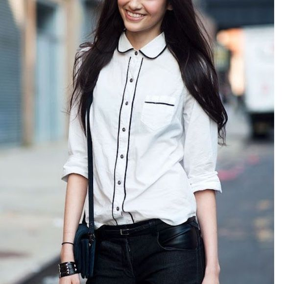 d09e0bd4f2 oooooh Peter pan collars are cute. Cute white shirt White button down with  black piping J Crew Tops Button Down Shirts