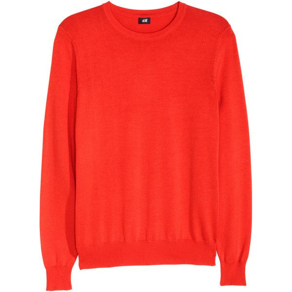 Fine-knit Cotton Sweater $24.99 ($25) ❤ liked on Polyvore featuring tops, sweaters, red top, long sleeve sweaters, h&m sweater, red sweater and long sleeve tops