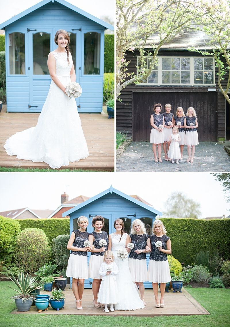 A rustic wedding with a blue colour scheme bride in maggie sottero