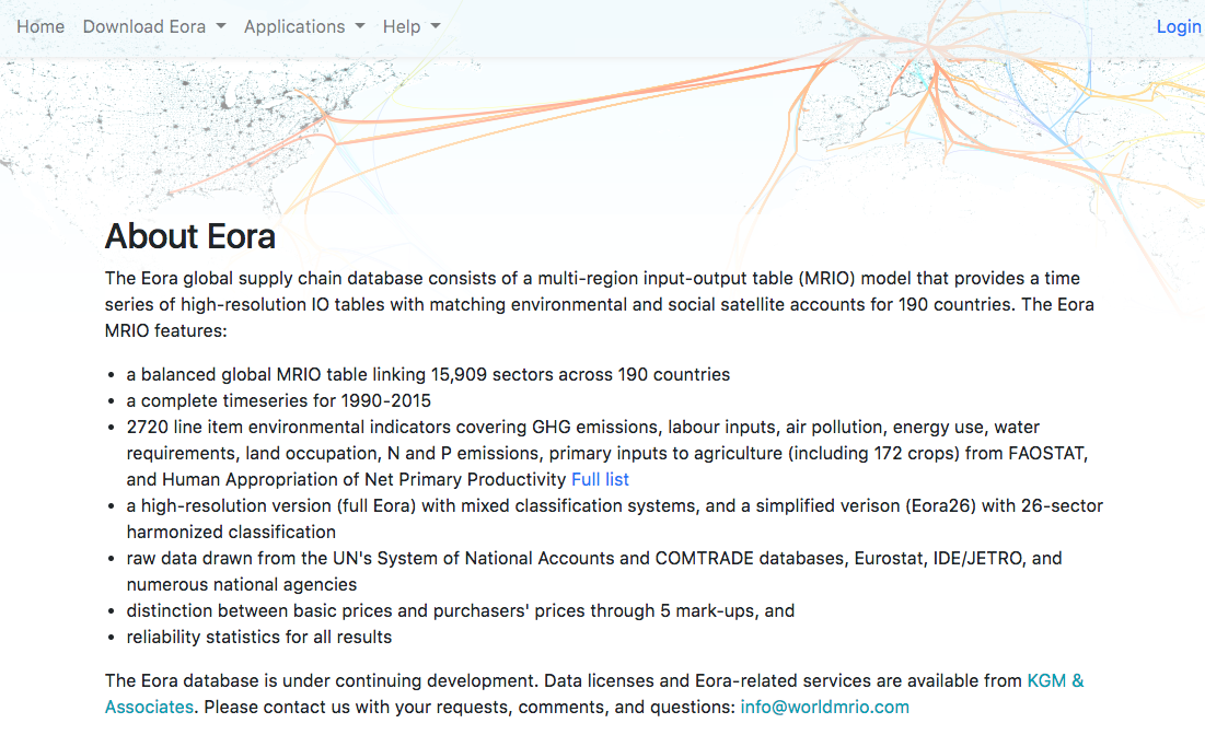 The Eora global supply chain database consists of a multi