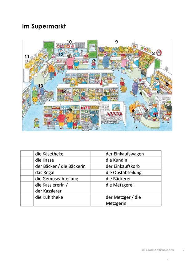 Im Supermarkt | Essen und Trinken, Lebensmittel - DAF Arbeitsblätter ...