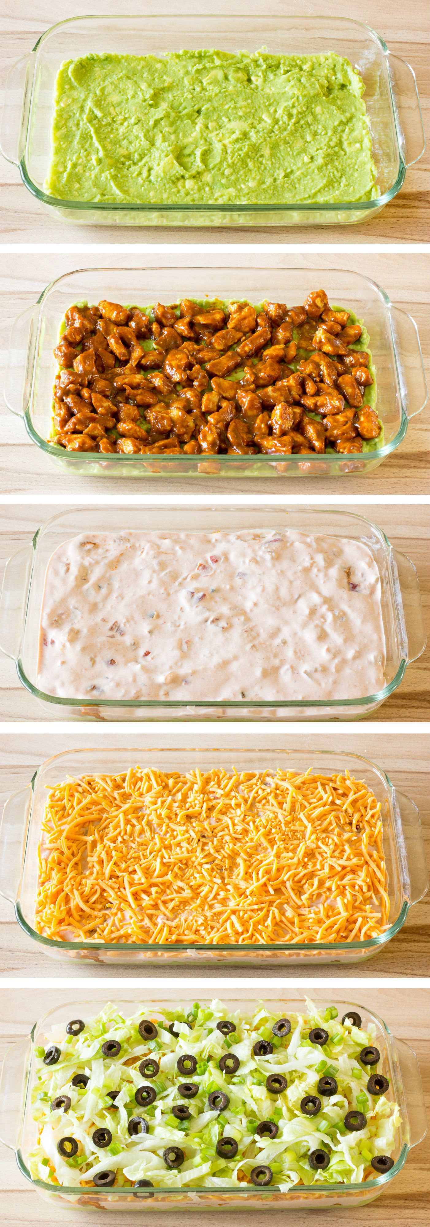 7 Layer Chicken Taco Dip - The Wholesome Dish