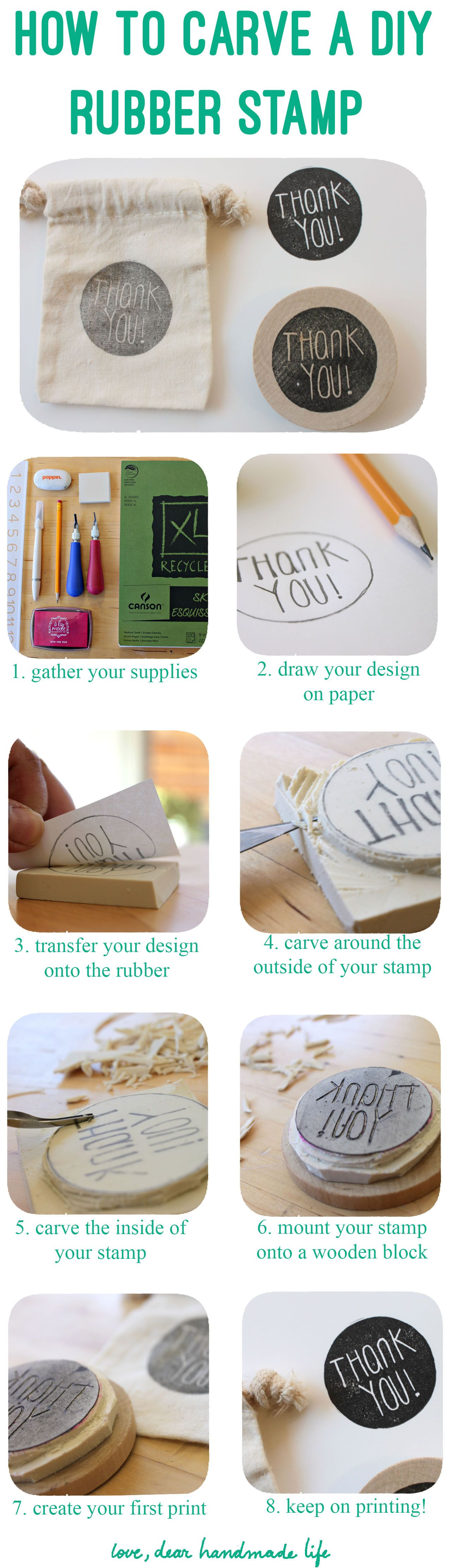 Rubber stamps for crafting - How To Carve Rubber Stamp Dear Handmade Life C Mo