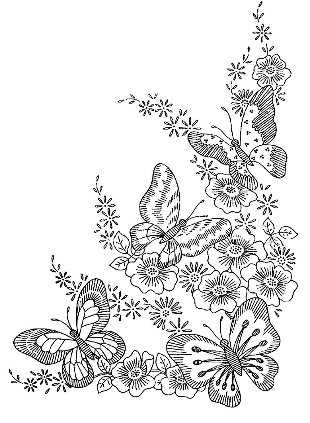 Butterflies Four Butterflies And Flowers Just Perfect Harmony From The Gallery Insects Just Butterfly Coloring Page Flower Coloring Pages Coloring Books