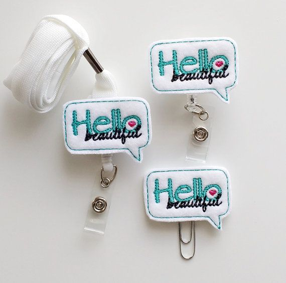 Hello Beautiful Feltie Paperclip | Badge Reel | ID Badge | Felt Badge | Badge Holder | Lanyard | Planner Clip | Planner Accessories | Feltie