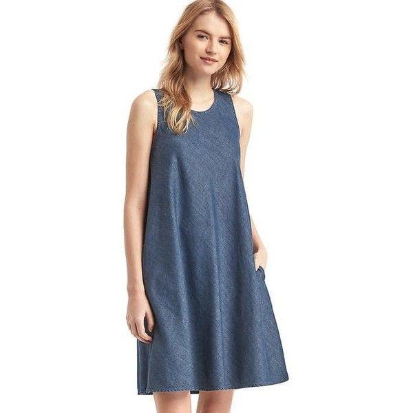 d458d4d3cb89 Gap Women Tencel Denim Sleeveless Swing Dress ( 60) ❤ liked on Polyvore  featuring dresses