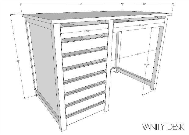 Diy Vanity Desk With Modern Hardware Pulls Makeup Plans