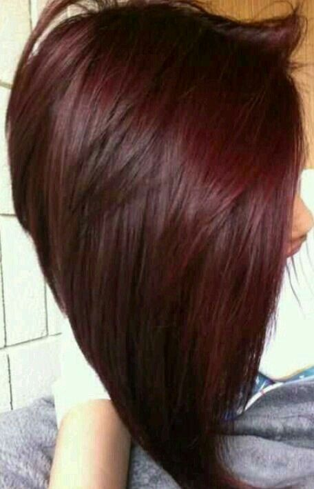 Long angled bob, dark red hair | Mahogany hair, Winter hair color, Cherry hair