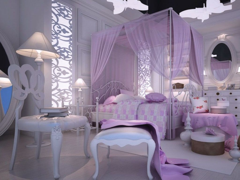bedroom purple accent girls canopy bed with chair and stool also