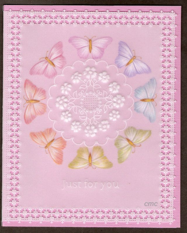 By Carolyn C.  Parchment card coloured with polychromo pencils. Butterfly circle.