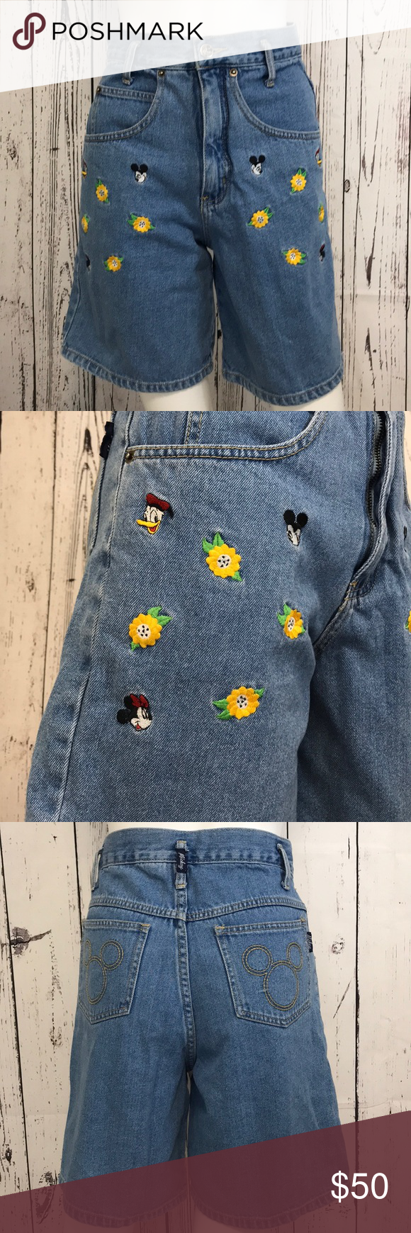 Vintage 90s Disney MICKEY MOUSE JEANS embroidered Denim Rare bnQ5mgDg