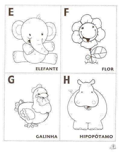 Alfabeto Para Colorir Pintar Imprimir Em Fichas Com Imagens
