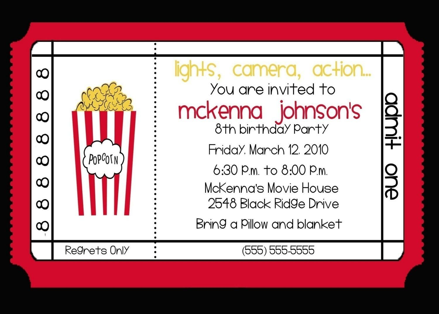 movie theater invitations google search movie birthday partiesbirthday - Movie Birthday Party Invitations