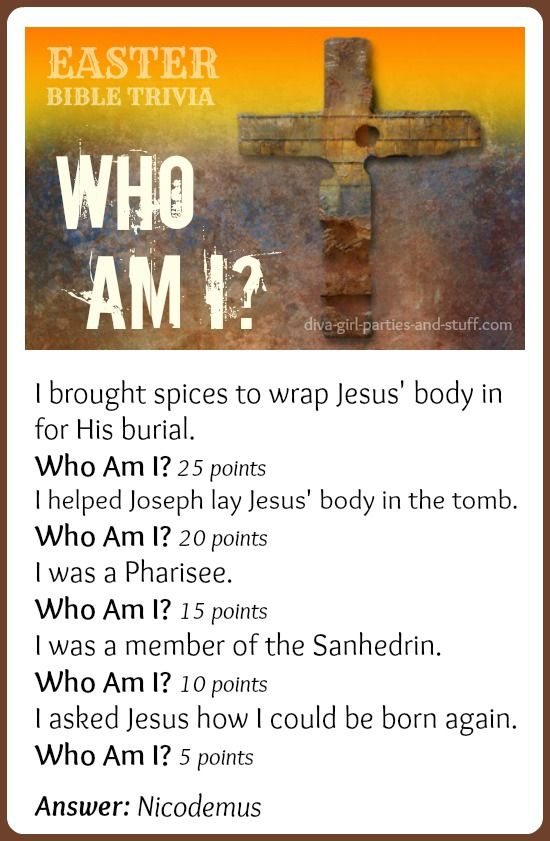Easter Bible Trivia Game Who Am I Pinterest School Lessons