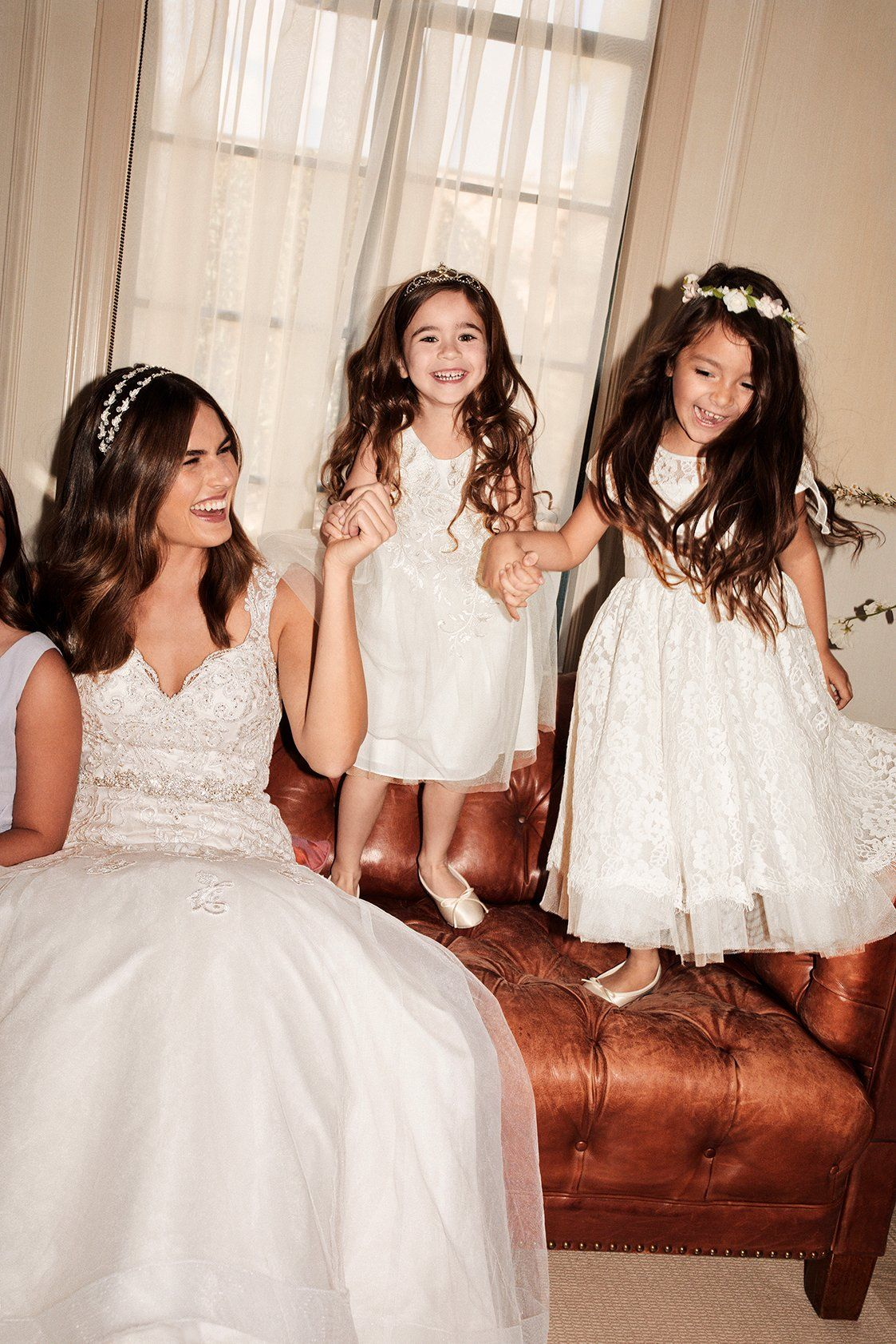 Girls wedding dress  Too cute Your flower girls deserve pretty white dresses too Shop