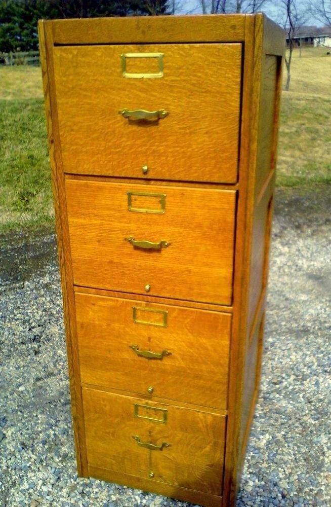Antique Globe Four Drawer Legal Size Tiger Oak File Cabinet Circa 1930
