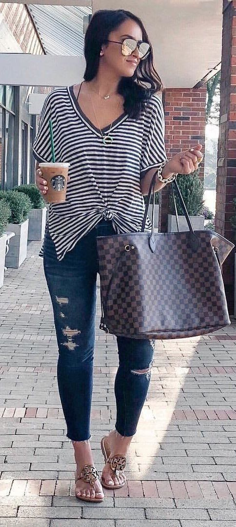 #summer #outfits white and black striped V-neck blouse