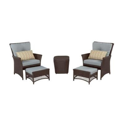 Hampton Bay Blue Hill 5 Piece Patio Conversation Set With Blue Green  Cushions