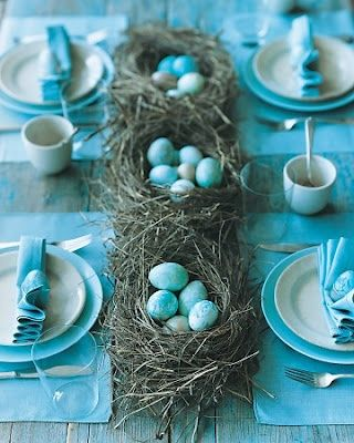 Robin's egg blue and white table setting with coordinating eggs nestled in nests. Chippy blue picnic table.