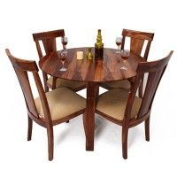 Mathew 4 Seater Dining Table Set Rs 23,450 Material: Sheesham Wood  Color/Finish: Teak Finish
