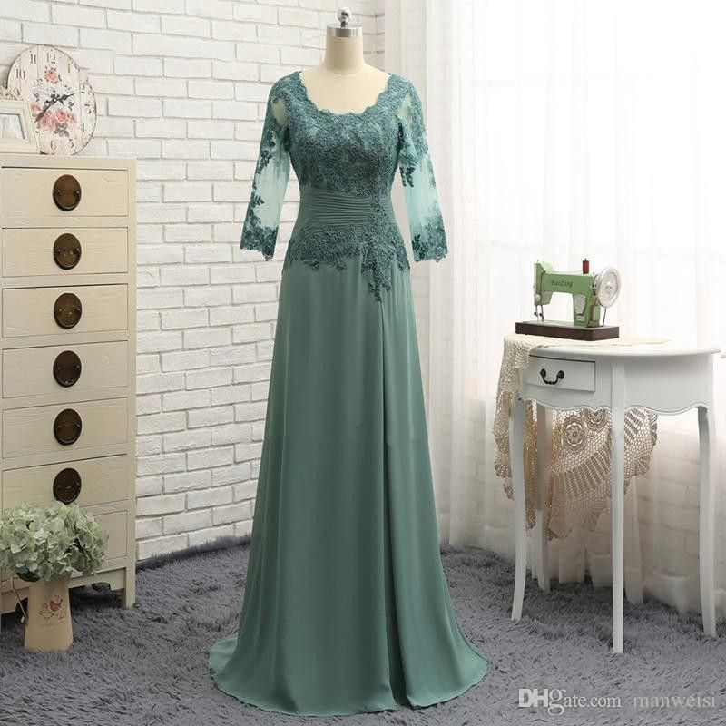 79e5c20a641 Elegant Teal Green Mother Of The Bride Dresses 3 4 Long Sleeves Lace  Appliqued Women Formal Evening Wear For Wedding Plus Size
