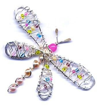 wire beaded dragonfly
