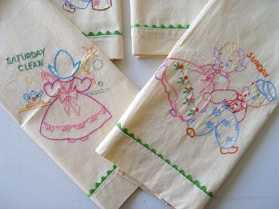 Day Of The Week Tea Towels Embroidered Vintage Kitchen Dish Towels, Days Of  The Week Towels Dutch Girl, Set Of 7 Dishtowels, Retro Kitchen