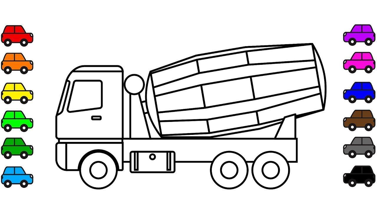 mixer truck colouring book construction vehicles