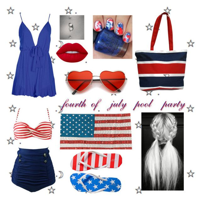 """""""fourth of july pool party"""" by thatkidinlove ❤ liked on Polyvore featuring Boohoo, Forever 21 and Lime Crime"""