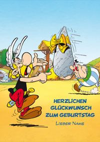 Zum Geburtstag Geburtstagskarte Asterix Figuren Geburt