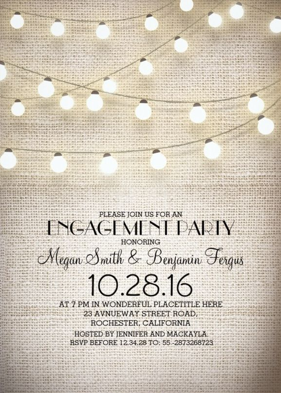 Burlap lace engagement invitation plus rustic string lights Burlap