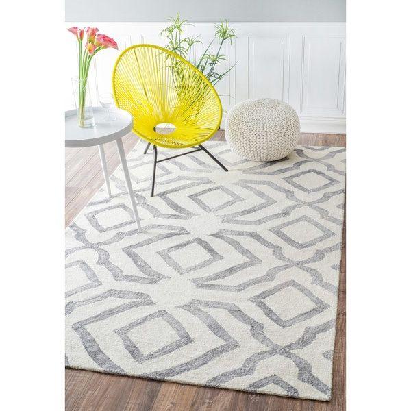 Nuloom Contemporary Handmade Abstract Wool Light Grey Rug