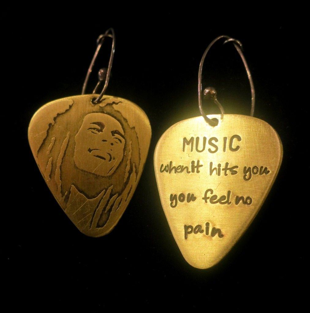 Solid Brass Guitar Pick Bob Marley