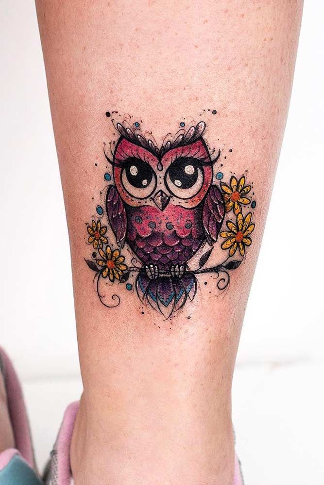 24 Owl Tattoo Designs That Will Make You Drool With Satisfaction Cute Owl Tattoo Colorful Owl Tattoo Owl Tattoo Small