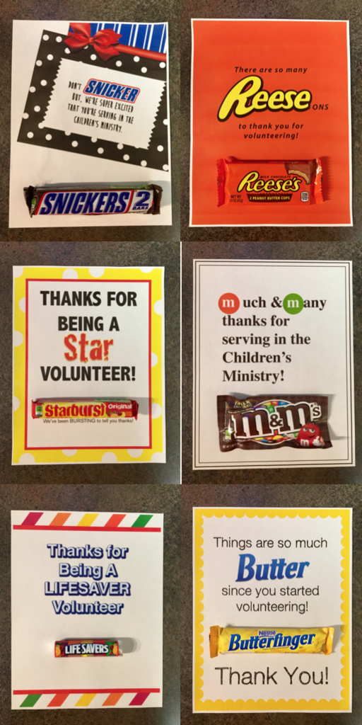 7 Candy Bar Thank You Notes for Volunteers   Appreciation ...