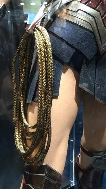 Wonder Woman's new costume on display at ComicCon Check out her gladiator heels is part of Wonder woman costume, Wonder woman cosplay, Women, Wonder woman movie, Wonder woman, Cosplay costumes - Behold Ben Affleck's Batsuit  both of them